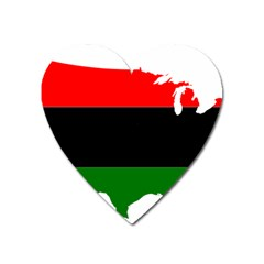 Pan-african Flag Map Of United States Heart Magnet by abbeyz71