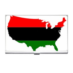 Pan African Flag Map Of United States Business Card Holder by abbeyz71