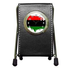 Pan African Flag Map Of United States Pen Holder Desk Clock by abbeyz71