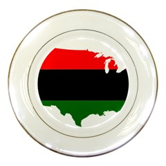 Pan-african Flag Map Of United States Porcelain Plates by abbeyz71