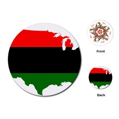 Pan African Flag Map Of United States Playing Cards (round) by abbeyz71