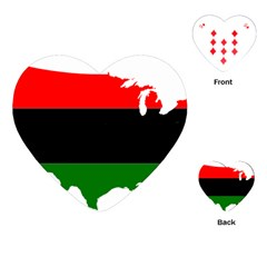 Pan African Flag Map Of United States Playing Cards (heart) by abbeyz71