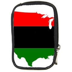 Pan African Flag Map Of United States Compact Camera Leather Case by abbeyz71