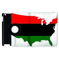 Pan African Flag Map Of United States Apple Ipad 2 Flip 360 Case by abbeyz71