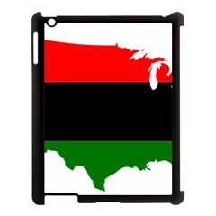 Pan African Flag Map Of United States Apple Ipad 3/4 Case (black) by abbeyz71