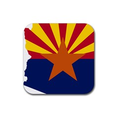 Flag Map Of Arizona Rubber Coaster (square)  by abbeyz71