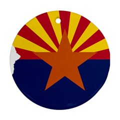 Flag Map Of Arizona Round Ornament (two Sides) by abbeyz71