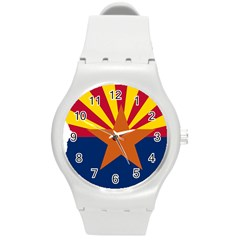 Flag Map Of Arizona Round Plastic Sport Watch (m) by abbeyz71