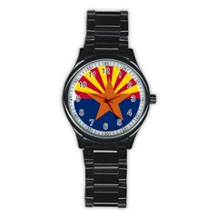 Flag Map Of Arizona Stainless Steel Round Watch by abbeyz71
