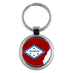 Flag Map Of Arkansas Key Chains (round)  by abbeyz71