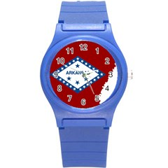 Flag Map Of Arkansas Round Plastic Sport Watch (s) by abbeyz71