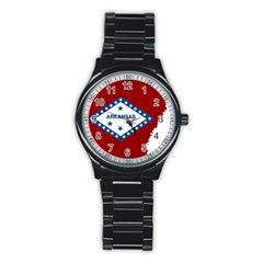 Flag Map Of Arkansas Stainless Steel Round Watch
