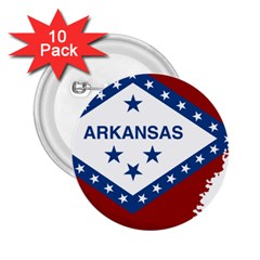 Flag Map Of Arkansas 2 25  Buttons (10 Pack)  by abbeyz71