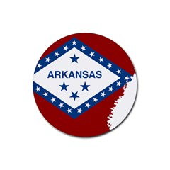 Flag Map Of Arkansas Rubber Round Coaster (4 Pack)  by abbeyz71