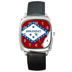 Flag Map Of Arkansas Square Metal Watch by abbeyz71