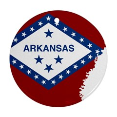 Flag Map Of Arkansas Round Ornament (two Sides) by abbeyz71