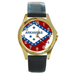 Flag Map Of Arkansas Round Gold Metal Watch by abbeyz71