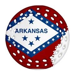 Flag Map Of Arkansas Ornament (round Filigree) by abbeyz71