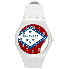 Flag Map Of Arkansas Round Plastic Sport Watch (m) by abbeyz71