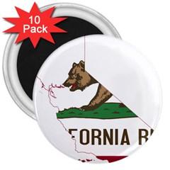 California Flag Map 3  Magnets (10 Pack)  by abbeyz71