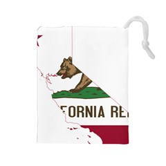 California Flag Map Drawstring Pouch (large) by abbeyz71