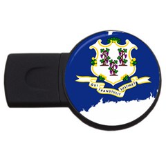 Flag Map Of Connecticut Usb Flash Drive Round (2 Gb) by abbeyz71