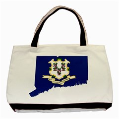 Flag Map Of Connecticut Basic Tote Bag (two Sides) by abbeyz71
