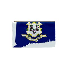 Flag Map Of Connecticut Cosmetic Bag (small) by abbeyz71