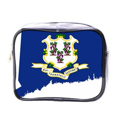 Flag Map Of Connecticut Mini Toiletries Bag (one Side) by abbeyz71