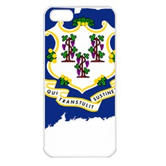 Flag Map Of Connecticut Apple Iphone 5 Seamless Case (white) by abbeyz71