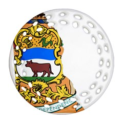 Flag Map Of Delaware Round Filigree Ornament (two Sides) by abbeyz71