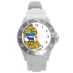 Flag Map Of Delaware Round Plastic Sport Watch (l) by abbeyz71