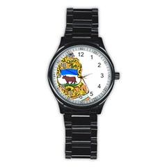 Flag Map Of Delaware Stainless Steel Round Watch
