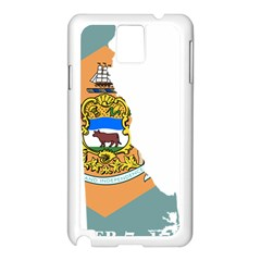 Flag Map Of Delaware Samsung Galaxy Note 3 N9005 Case (white) by abbeyz71