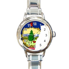 Flag Map Of Vermont Round Italian Charm Watch by abbeyz71