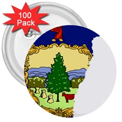 Flag Map Of Vermont 3  Buttons (100 Pack)  by abbeyz71
