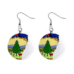 Flag Map Of Vermont Mini Button Earrings by abbeyz71