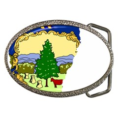 Flag Map Of Vermont Belt Buckles by abbeyz71