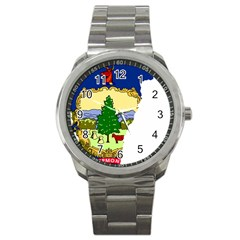 Flag Map Of Vermont Sport Metal Watch by abbeyz71
