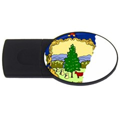 Flag Map Of Vermont Usb Flash Drive Oval (4 Gb) by abbeyz71