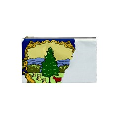 Flag Map Of Vermont Cosmetic Bag (small) by abbeyz71