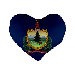 Flag Of Vermont Standard 16  Premium Flano Heart Shape Cushions by abbeyz71