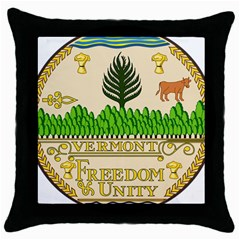 Great Seal Of Vermont Throw Pillow Case (black) by abbeyz71