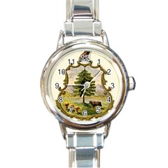 Coat Of Arms Of Vermont Round Italian Charm Watch by abbeyz71