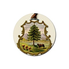 Coat Of Arms Of Vermont Rubber Round Coaster (4 Pack)  by abbeyz71