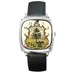 Coat Of Arms Of Vermont Square Metal Watch by abbeyz71