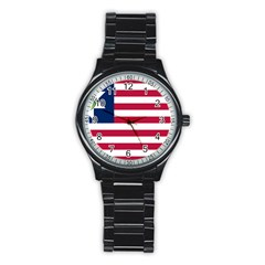 Flag Of Vermont, 1837 1923 Stainless Steel Round Watch