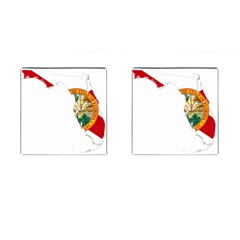 Flag Map Of Florida  Cufflinks (square) by abbeyz71