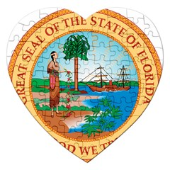 Great Seal Of Florida, 1900 1985 Jigsaw Puzzle (heart) by abbeyz71