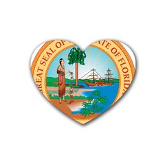 Great Seal Of Florida, 1900 1985 Rubber Coaster (heart)  by abbeyz71